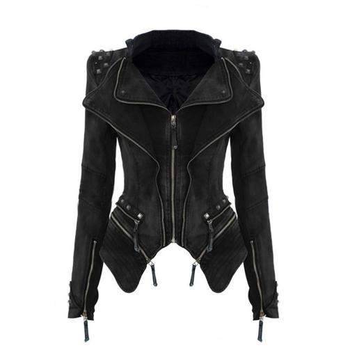 Fashion Women Vintage Denim Jeans Jacket Punk Rivet Studded Shrug Shoulder Notched Lapel Coat