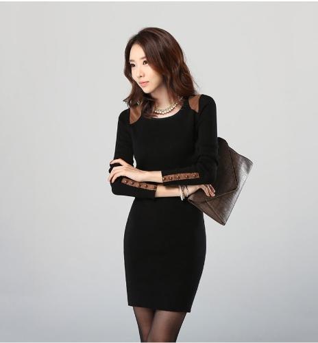 Moda coreana mujeres Mini vestido de manga larga Bodycon Basic vestido negro/Beige