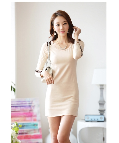 Koreanische Mode Frauen Minikleid Langarm Bodycon Basic Kleid schwarz/Beige