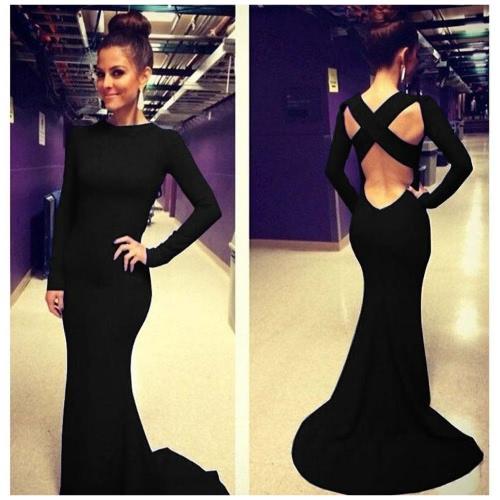 Sexy Women Dress Criss Cross Backless Floor-length Maxi Gown Evening Party Dress Black/Blue/Red