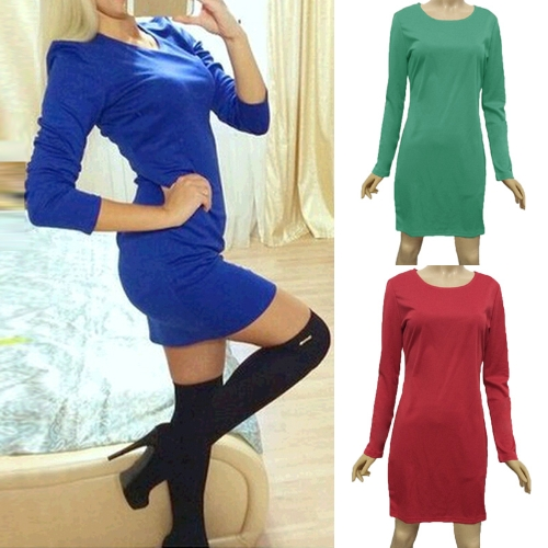 Moda Damskie Sukienki Solid Snail Girl Long Sleeve Night Club Mini Sukienka Royal Blue / Green / Red