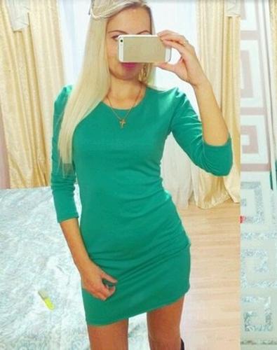Las mujeres de moda vestido de Color sólido de cuello redondo manga larga noche Club Mini vestido azul marino/verde/rojo