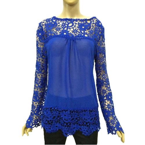 Neue Mode Frauen Chiffon Bluse Spitze häkeln Stickerei schiere Sleeve Tee Tops Shirt weiss/blau/gelb