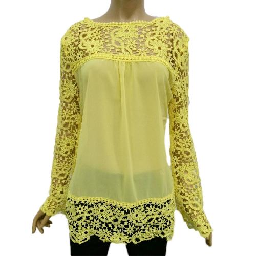 Nueva moda mujeres blusa de Gasa encaje ganchillo bordado manga puro Tee Tops camisa blanca/azul/amarillo