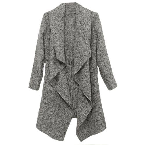 Tomtop coupon: New Fashion Women Coat Drape Open Front Asymmetric Hem Long Sleeve Casual Outerwear Grey