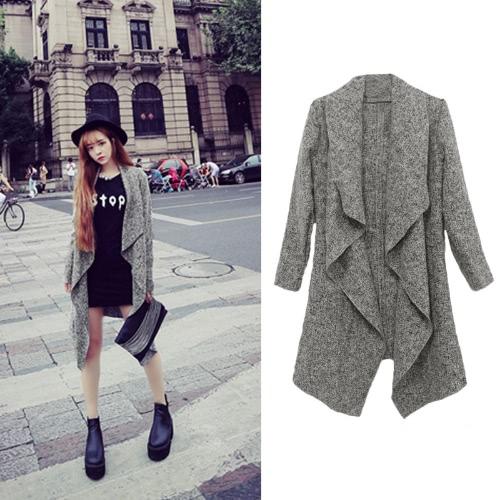 Neue Mode Frauen Mantel Drape offene vordere asymmetrische Saum langarm lässig Oberbekleidung grau
