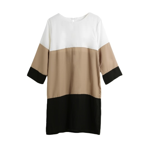 New Fashion Women Chiffon Dress Color Block 1/2 Sleeve Plus Size Loose Shift Mini Dress