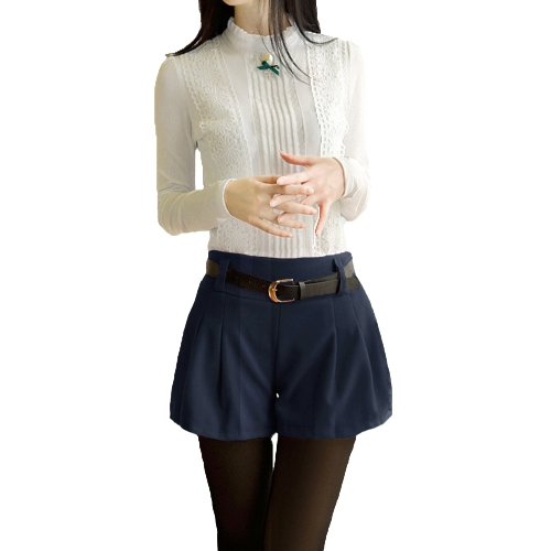 Nouveau mode femmes Shorts taille élastique détail ruché couleur unie laine peignée pantalons décontractés
