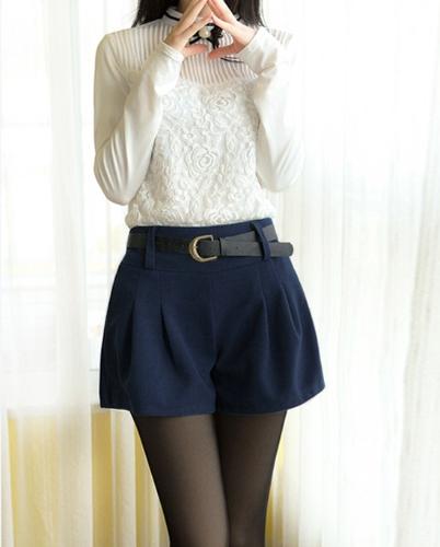 TOMTOP / Nueva moda mujeres Shorts elástico en la cintura acanalada detalle Color sólido pantalones casuales de estambre