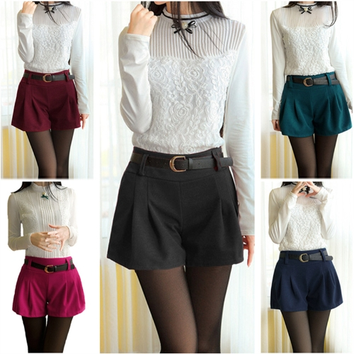 New Fashion Women Shorts Elastic Waist Ruched Detail Solid Color Casual Worsted Pants