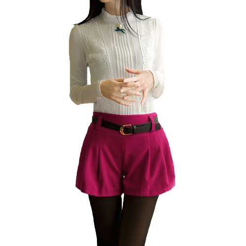 Nueva moda mujeres Shorts elástico en la cintura acanalada detalle Color sólido pantalones casuales de estambre