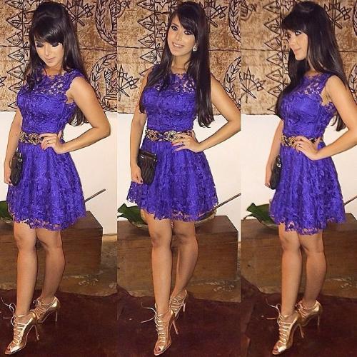 New Fashion Women Dress Lace Ball Gown Sleeveless Slim Elegant Evening Party Dress Purple