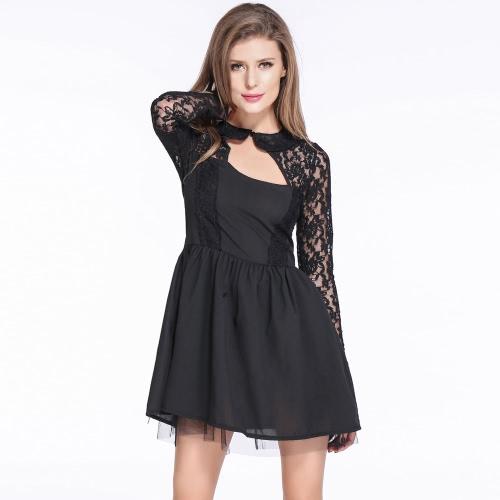 Neue Sexy Frauen Kleid floraler Spitze rückenfreie Langarm Cocktail Party T-Shirt Slim Kleid schwarz