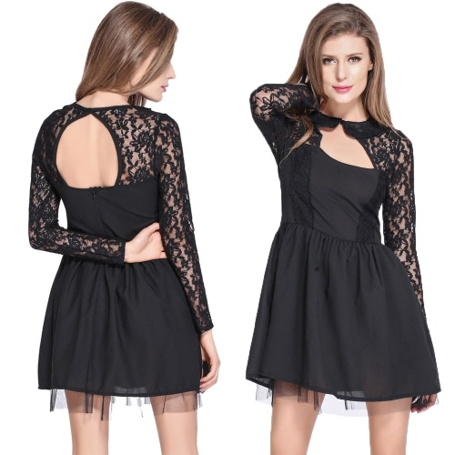 New Sexy Women Dress Floral Lace Backless Long Sleeves Cocktail Party Club Slim A-Line Dress Black