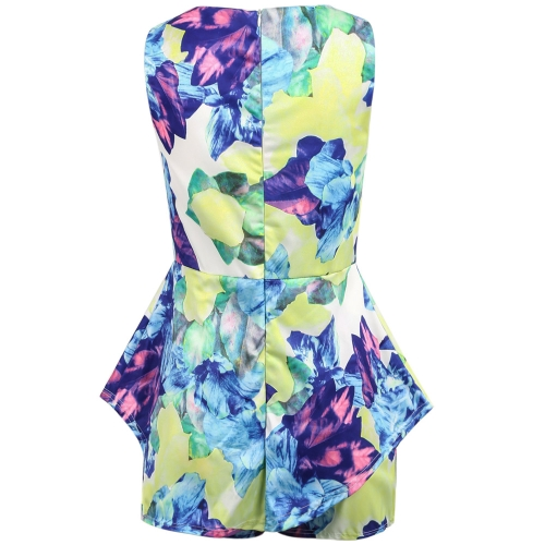 Tomtop coupon: New Sexy Women Jumpsuit Floral Print Crew Neck Zip Back Overlay Sleeveless Playsuit Romper Blue