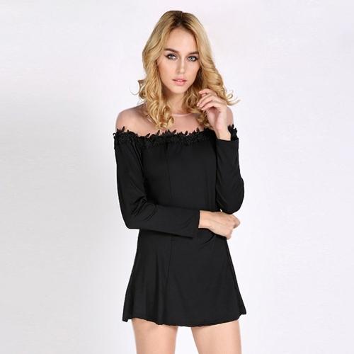 Mujeres sexy Mini vestido del ganchillo del cordón escarpado del acoplamiento hombro Patchwork cierre relámpago detrás redondo cuello largo manga vestido negro