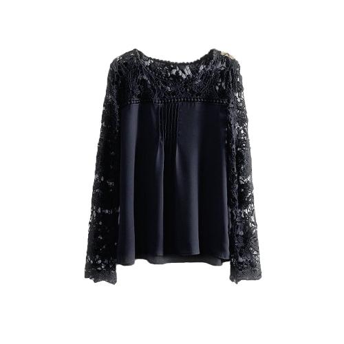 Nova moda mulheres blusa Chiffon laço Crochet bordado manga pura superdimensionada Tops camiseta