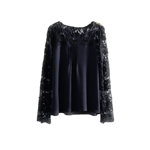 Nueva moda mujeres blusa de Gasa encaje Crochet bordado manga puro gran tamaño Tops camiseta