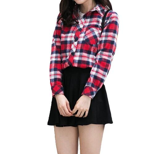 Moda coreana mulheres camisa xadrez seleção padrão gola virada para baixo manga longa bolso Casual Tops para casal