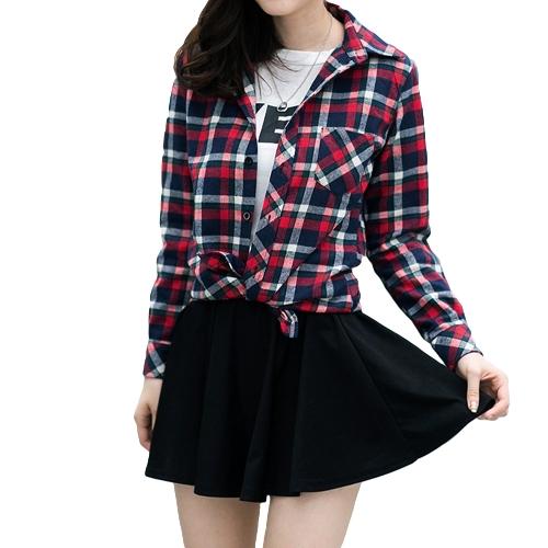 Moda coreana mujeres camisa Check Plaid patrón Collar dé vuelta-abajo Tops Manga larga bolsillo Casual para pareja