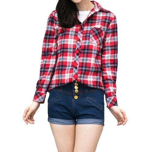 Moda coreana mujeres camisa cuadros de verificación patrón Collar dé vuelta-abajo Tops Manga larga bolsillo Casual para pareja