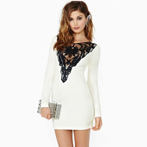 ファッションのヨーロッパ女性ドレス レース挿入戻るキー穴長袖ミニドレス ホワイト