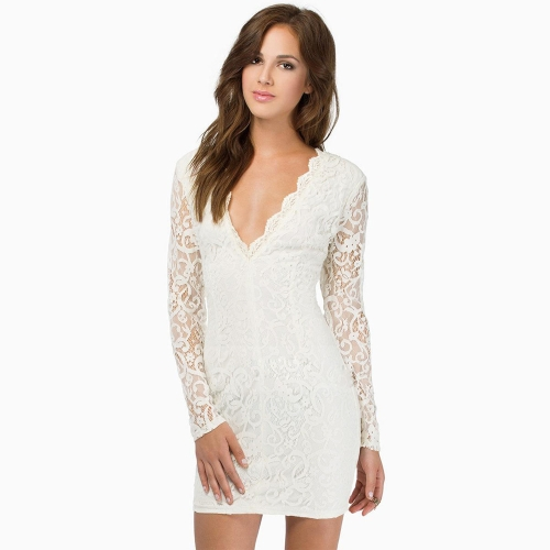 Sexy Women Lace Dress Plunge V Neck Zip Backless Long Sleeve Cocktail Party Mini Dress Black/Burgundy/White