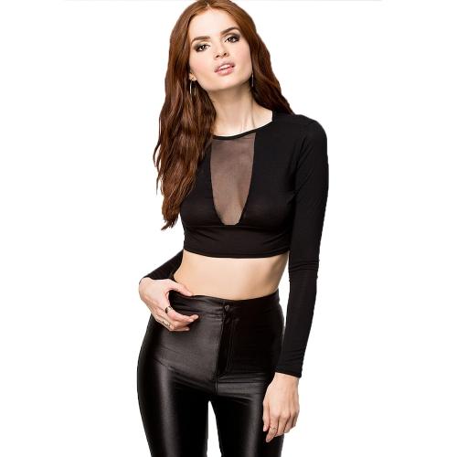 Europa sexy mujeres camiseta pura malla Patchwork redondo cuello manga larga cosecha Slim negro