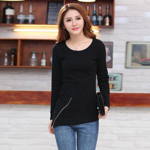 Fashion Women T-Shirt Crew Neck Long Sleeve Asymmetric Hem Zipper Solid Blouse Top Black/Yellow
