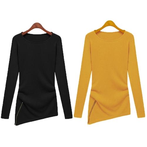 Mode Frauen T-Shirt Rundhalsausschnitt Langarm asymmetrische Saum Reißverschluss solide Bluse Top schwarz/gelb