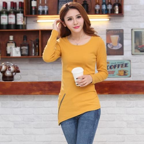 Moda mujer camiseta cuello redondo manga larga asimétrico dobladillo cremallera blusa sólida superior negro/amarillo