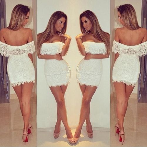 Fashion Women Lace Dress Sexy Off Shoulder Cut-out Back Slim Bodycon Party Mini Dress White