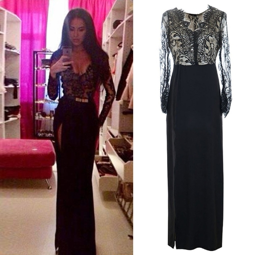 Sexy Women Maxi Dress Eyelash Lace Zip Back Thigh Split Deep V Long Sleeve Evening Cocktail Long Dress Black