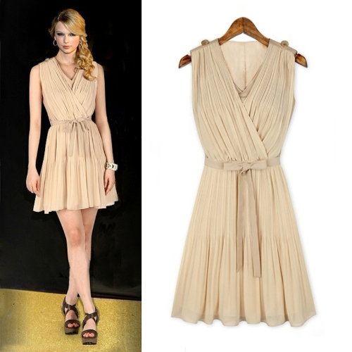 Mode Frauen plissierten Chiffon Kleid V-Ausschnitt ärmelloses elegantes Minikleid Beige/Dark Blue