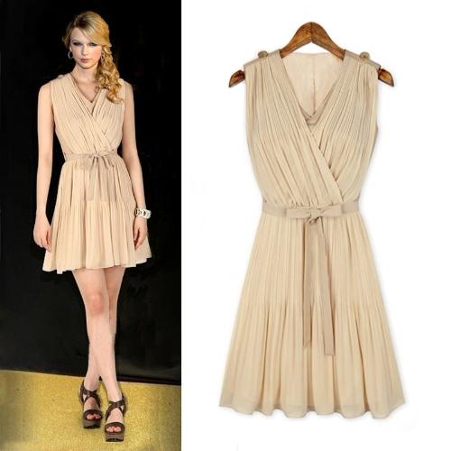 Moda damska Pleated Chiffon Sukienka V-Szyjna Elegancka Sukienka Mini Beżowa / Ciemnoniebieska