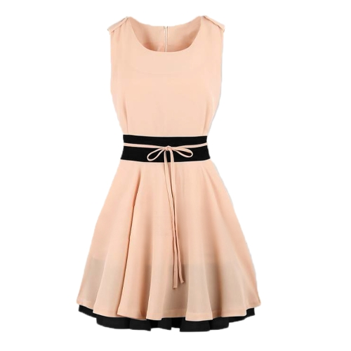 New Fashion Kobiety Chiffon Sukienka Kontrast Tętnica Kolor Blokada Blisko Crew Neck Bez Rękawów Sukienka Różowy / Ciemnoniebieski