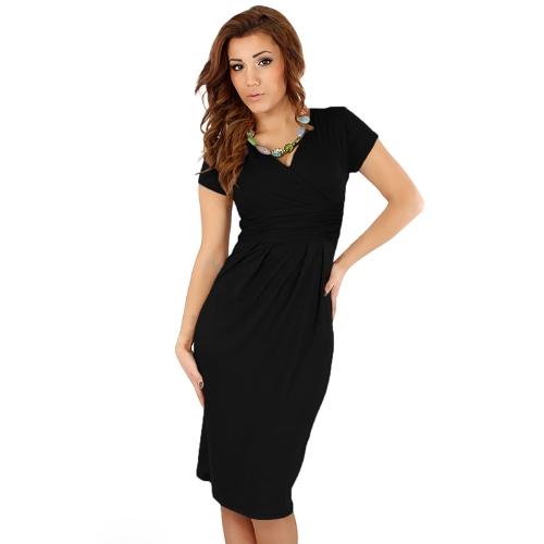 Mode Frauen elegante Office dehnbar Kleid vorne Tunika V-Ausschnitt Kurzarm Mutterschaft Wickelkleid