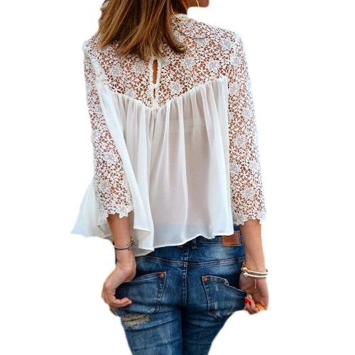 New Fashion Kobiet Bluzki Crochet Lace Sheer Long Sleeve Okrągły Sweter Luksusowy Koszule Białe