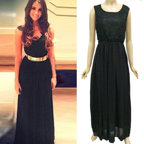 New Sexy Women Chiffon Dress Floral Lace Mesh Patchwork Round Neck Sleeveless Nightclub Evening Gown Long Dress Black