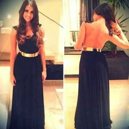 Tomtop coupon: New Sexy Women Chiffon Dress Floral Lace Mesh Patchwork Crew Neck Sleeveless Nightclub Evening Gown Long Dress Black
