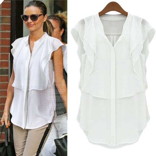 Nueva moda mujer blusa gasa Stand Collar mariposa corta manga Color sólido tapas elegante blanco/azul oscuro