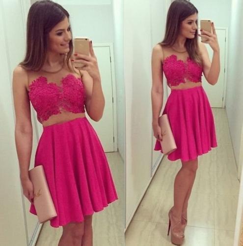 Neue Sexy Frauen Kleid Crochet Lace schiere Mesh Patchwork Zip Seite Runde Hals ärmelloses Abendkleid Party Kleid Minikleid Rose