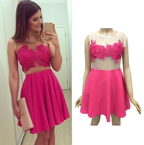 Nuevo Sexy mujer vestido Crochet encaje escarpado del acoplamiento Patchwork Zip lado redondo cuello sin mangas vestido de noche vestido de fiesta Mini vestido rosa