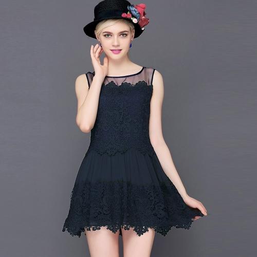 Nueva moda mujer encaje vestido Crochet Patchwork malla redonda de cuello sin mangas vestido Mini Slim dulce blanco/azul oscuro