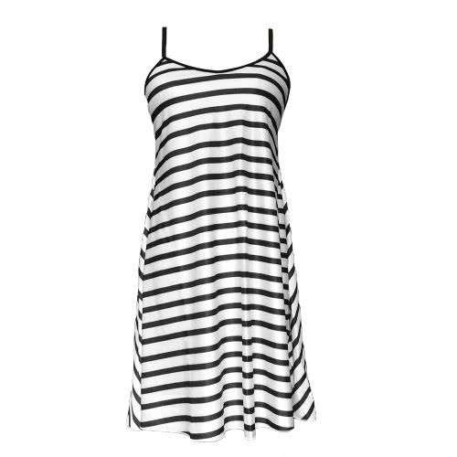 Mode Frauen Sommerkleid Kontrast gestreift Sexy V-Ausschnitt rückenfreie Spaghetti Strap Beach Dress Black
