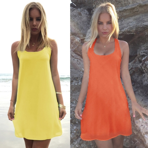 TOMTOP / Moda mujeres de Gasa Mini Bowknot atrás ronda vestido de fiesta de noche cóctel sin mangas de cuello amarillo/naranja