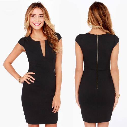 Moda Kobiet Ołówek Sukienka Vunge V Z powrotem Zipper Zipper krótki Cap Sleeve Slim OL Work Party Dress Black