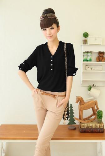 Nuova moda donna camicia Chiffon pulsanti con spallina con scollo a v manica lunga tinta camicetta elegante bianco / nero/blu reale