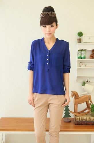 Nueva moda mujer camisa gasa botones charretera con cuello en v manga larga sólida blusa suelta elegante blanco / negro/azul Royal