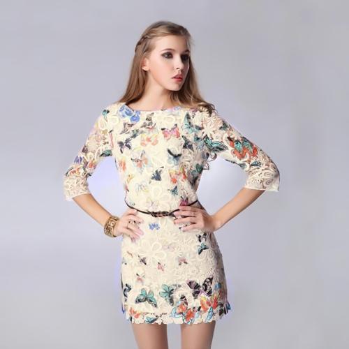 Nueva Europa mujer vestido mariposa colorida impresión media manga elegante Mini vestido blanco/Beige